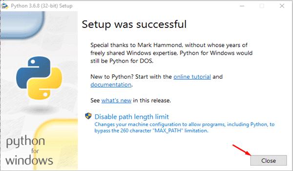 Python là gì? Tiến hành cái đặt phần mềm và đóng cửa sổ sau khi hoàn tất.