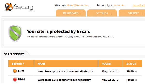 6Scan Security giúp quét mã độc tự vá lỗi trên website WordPress