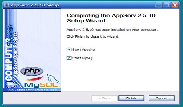 AppServ là gì? Nhấn Finish để hoàn tất và khởi động AppServ