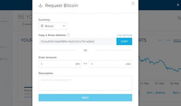 Để nhận coin từ ví khác hãy gửi địa chỉ ví của bạn cho họ