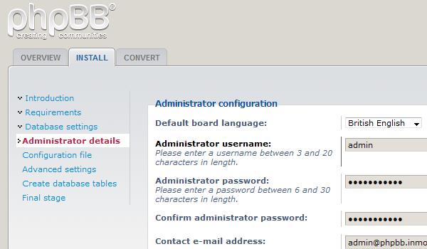 phpbb là gì? Giao diện cài đặt phpBB trên trình duyệt