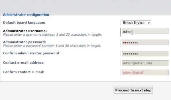 phpbb là gì? Thông tin người quản trị gồm username, email và mật khẩu