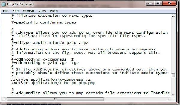 """Tìm đoạn """"AddType"""" như ảnh và thêm vào: AddType application/x-httpd-php.php"""