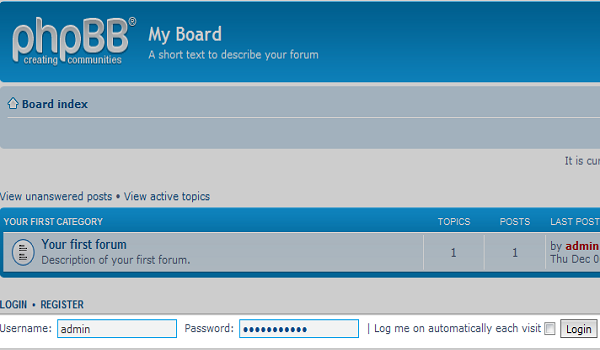 Truy cập URL http://localhost và đăng nhập tài khoản quản trị
