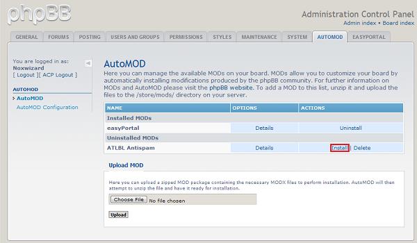 phpBB là gì? AutoMOD cho phép tự động cài các gói MODs của phpBB3