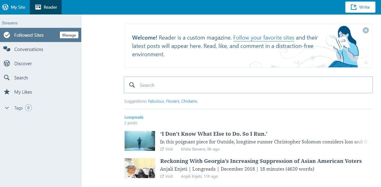RSS là gì? Bước 2: Click vào nút Reader trên góc trái màn hình.