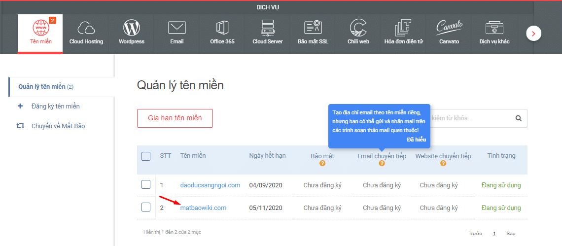 """Bước 1: Truy cập vào đường link: id.matbao.net. Tiếp theo, click vào mục """"Tên miền"""" -> click vào tên miền cần kích hoạt DNSSEC."""