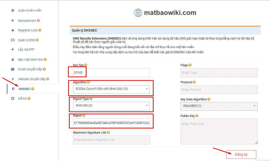 """Bước 2: Truy cập vào link: id.matbao.net -> click vào mục """"Tên miền"""" -> click vào tên miền cần kích hoạt DNSSEC."""