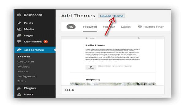 WordPress hỗ trợ upload theme trực tiếp từ máy tính lên website