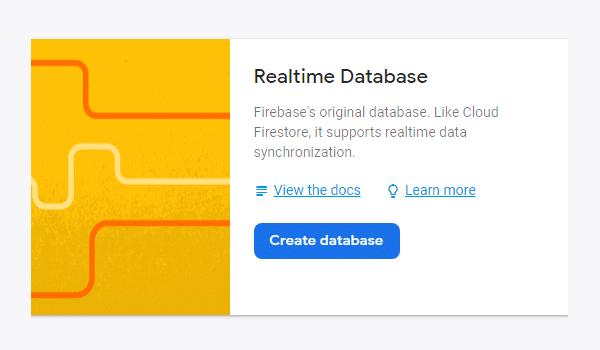 webrtc là gì? Chọn thẻ Database để tạo mới Database cho project