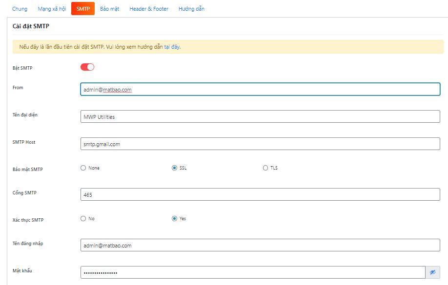 Lưu thay đổi là hoàn tất quá trình cài đặt SMTP sử dụng Gmail cho WP Helper