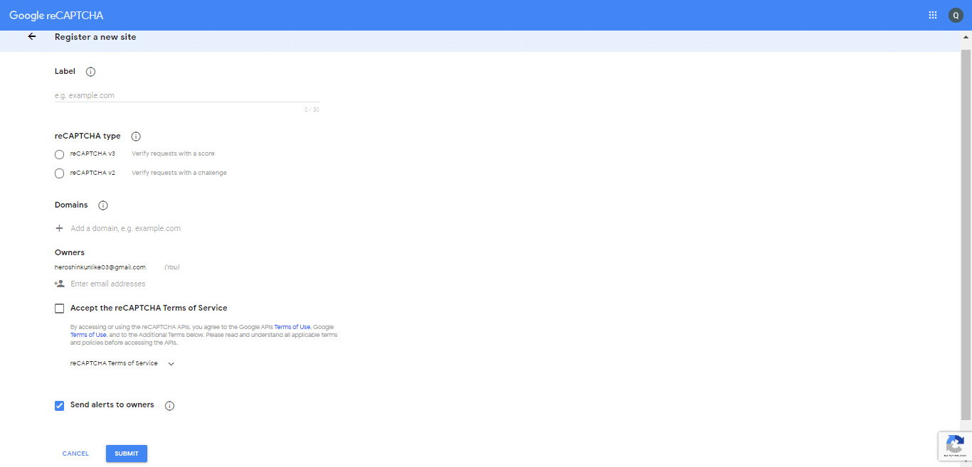 Trang thiết lập reCaptcha của Google