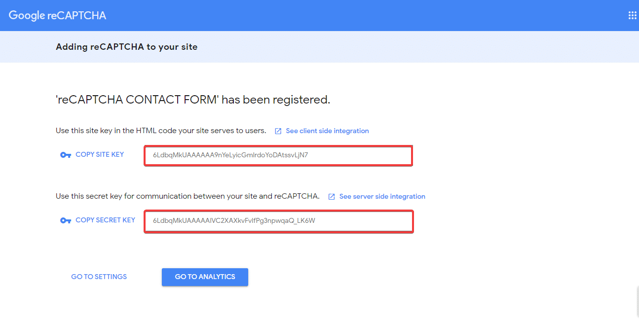 Site key và Secret key