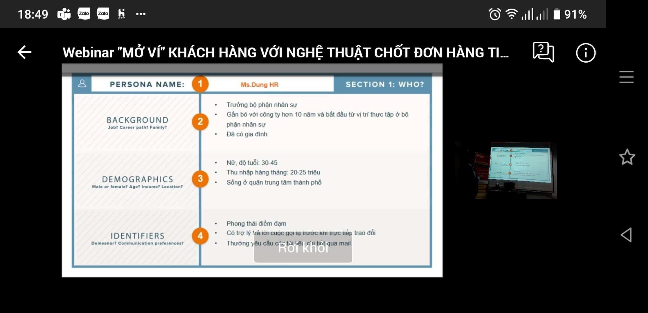 """Buổi Live Webinar """"Mở ví khách hàng với nghệ thuật chốt đơn hàng tinh tế"""" do Mắt Bão tổ chức"""