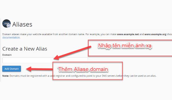 aliases là gì? Nhập địa chỉ tên miền hợp lệ vào ô để tiến hành Alias domain