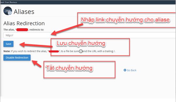 Cấu hình thay đổi chuyển hướng cho Alias domain