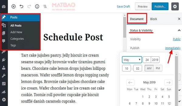 Post WordPress là gì? Lên lịch đăng bài ngay trong WordPress Editor