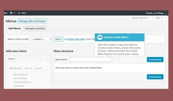 """cách tùy chỉnh theme WordPress. Muốn tạo menu mới, chọn Create a new menu (bên cạnh nút """"Select"""")"""