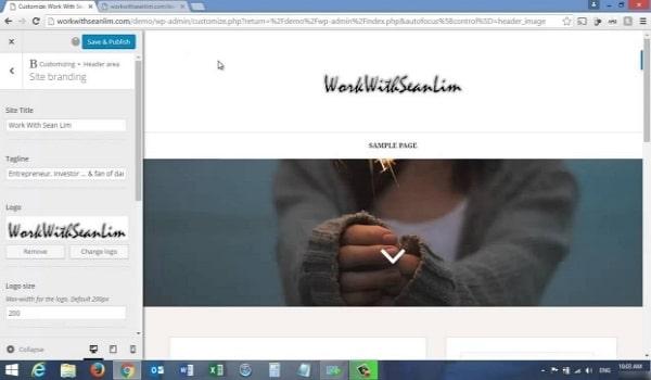 Header Image cũng là một mục WordPress có thể tuỳ chỉnh