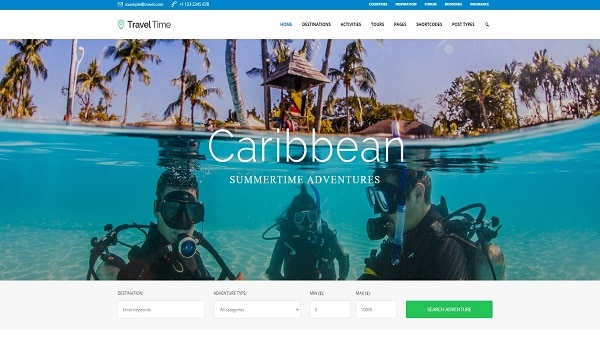 Top theme du lịch WordPress - Giao diện một website sử dụng theme WordPress TravelTime