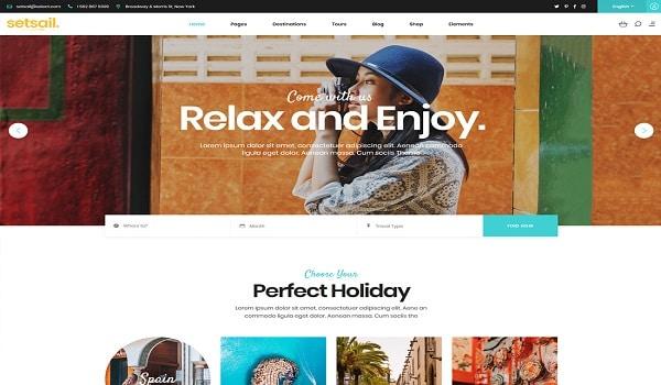 Top Theme du lịch WordPress - Giao diện của SetSail khá đơn giản và đẹp mắt