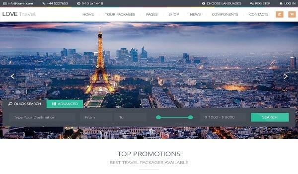 Theme WordPress Love Travel mang tới cho người dùng nhiều sự lựa chọn cho các chuyến đi và lịch trình của mình