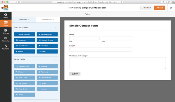 Plugin tạo Form WordPress - Giao diện cụ thể của WPForms