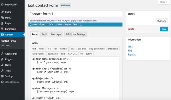 Plugin tạo Form WordPress - Hướng dẫn tùy biến giao diện Contact Form 7