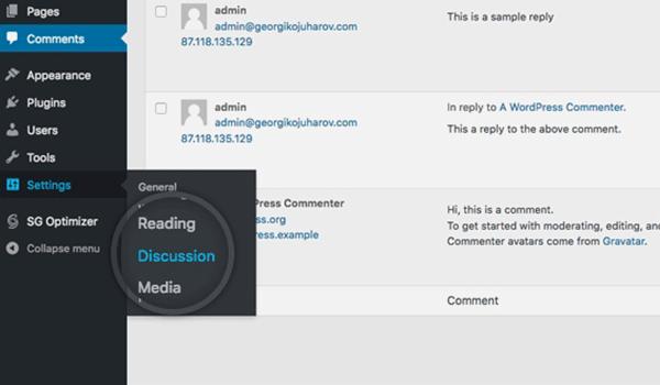 Khu vực cấu hình Comments trên WordPress