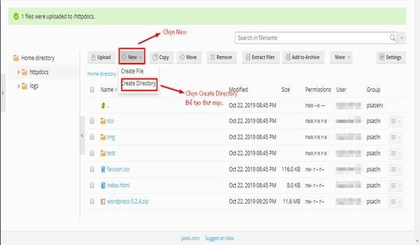 Plesk là gì? Giao diện tạo thư mục hiện ra, bạn gõ tên thư mục cần tạo và click OK để hoàn tất.