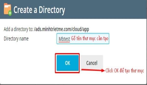 Giao diện tạo thư mục hiện ra, bạn gõ tên thư mục cần tạo và click OK để hoàn tất.