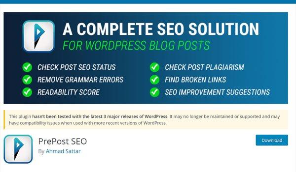 7 Plugin WordPress kiểm tra đạo văn Plagiarism Checker tốt nhất - PrePost SEO có thể được tải xuống miễn phí từ wordpress.org