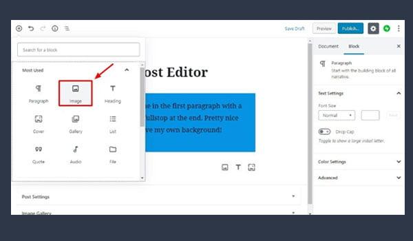 Image block trên wordpress