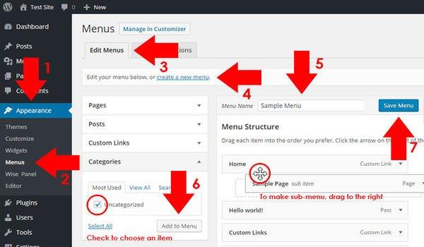 cách tạo menu wordpress