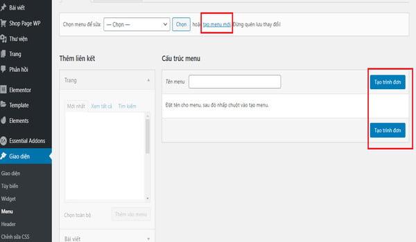 hướng dẫn tạo menu website wordpress