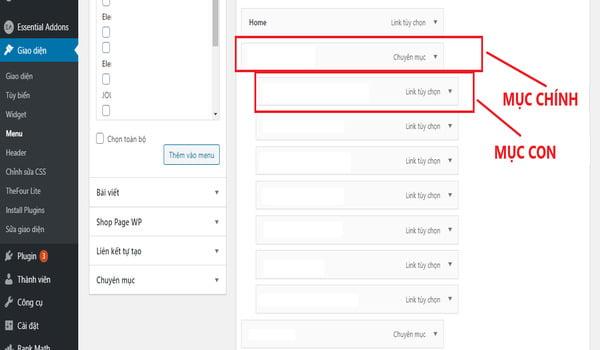phân cấp menu website wordpress