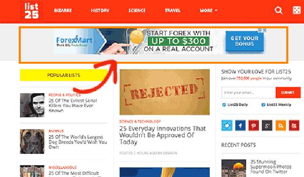 Cách tùy chỉnh WordPress - Khu vực Widget Header thường được đặt các banner quảng cáo