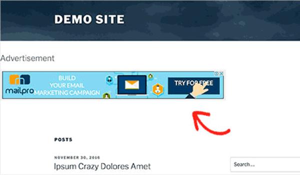 Cách tùy chỉnh WordPress - Widget đã xuất hiện bên dưới header sau khi chèn code
