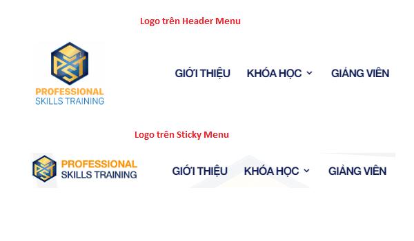 Cách tùy chỉnh WordPress - Ví dụ về mẫu logo trên Header và Sticky Menu