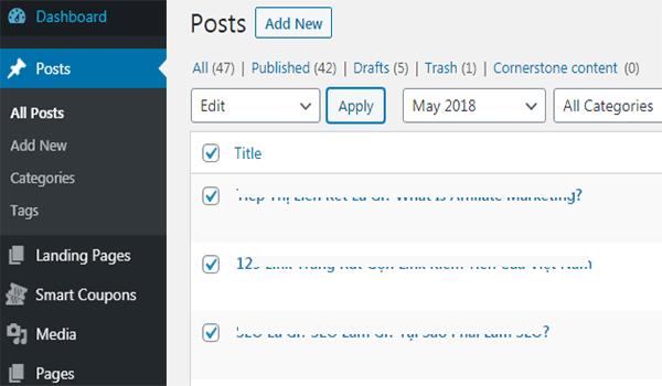 Đánh dấu các bài viết khi áp dụng cùng thao tác