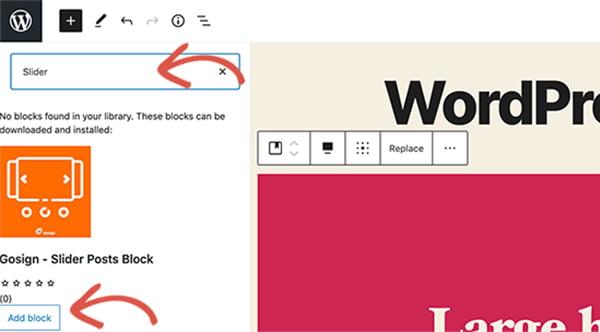 Slider phiên bản WordPress 5.5
