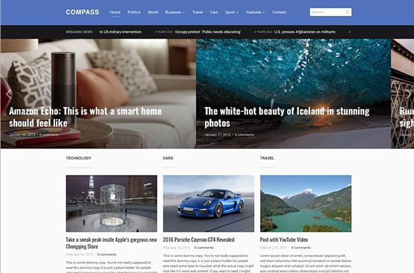 Theme Compass được tích hợp với nhiều phần mềm mạng xã hội khác nhau.