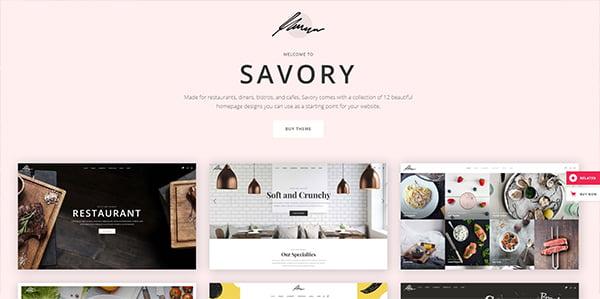 Savory Theme có 12 mẫu Templates đẹp tinh tế cho bạn thoải mái lựa chọn.