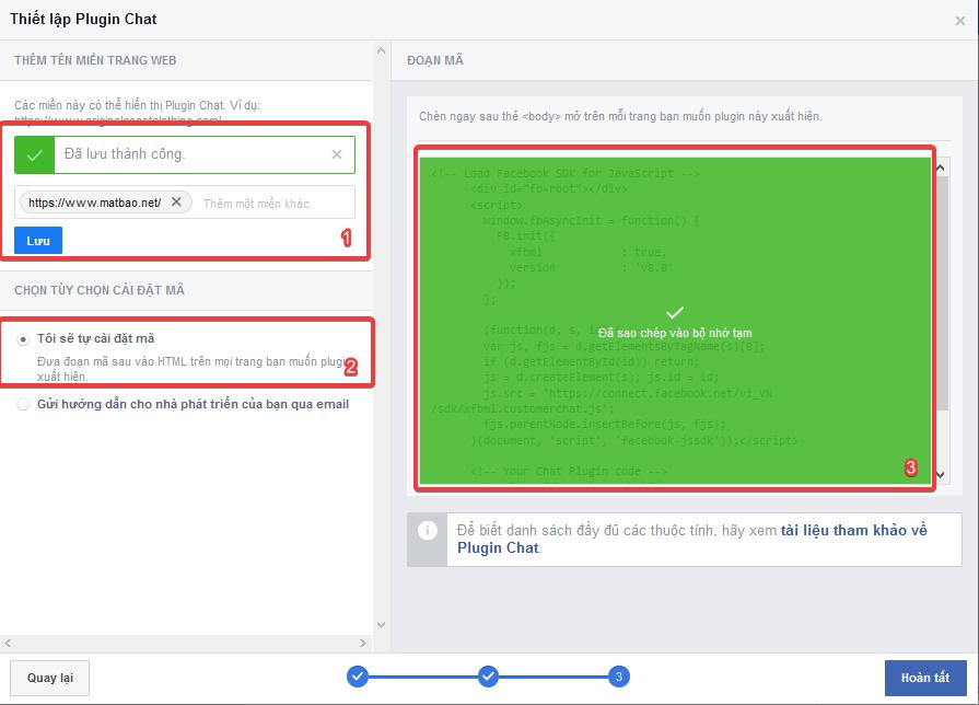 hướng dẫn tích hợp facebook messenger vào trang web
