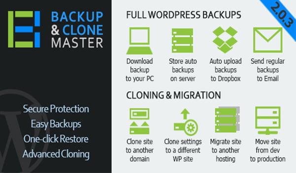 WordPress Backup & Clone Master cho phép tự động tải các bản sao lưu lên DropBox, Google Drive,…