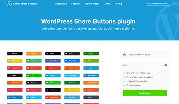 Với WordPress Social Share Buttons Plugin bạn có thể chia sẻ Website của mình trên 40 trang mạng xã hội