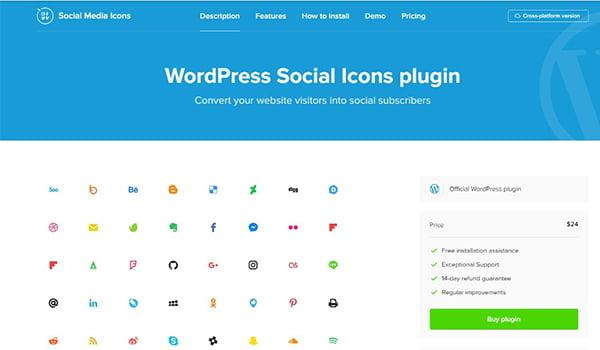 WordPress Social Media Icons Plugin điều hướng khách truy cập Website đến các trang truyền thông xã hội của bạn.