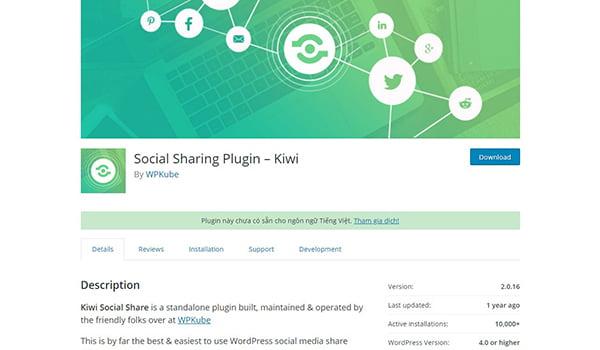 Kiwi Social Share là một trong những Plugin truyền thông xã hội rất dễ sử dụng trong WordPress