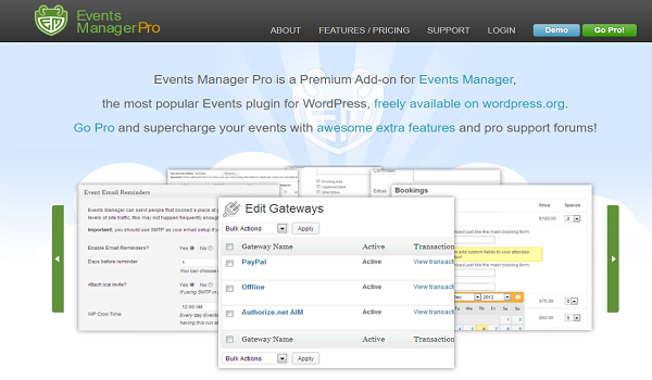 Events Manager Pro có đầy đủ các tính năng dành cho nhà tổ chức sự kiện chuyên nghiệp