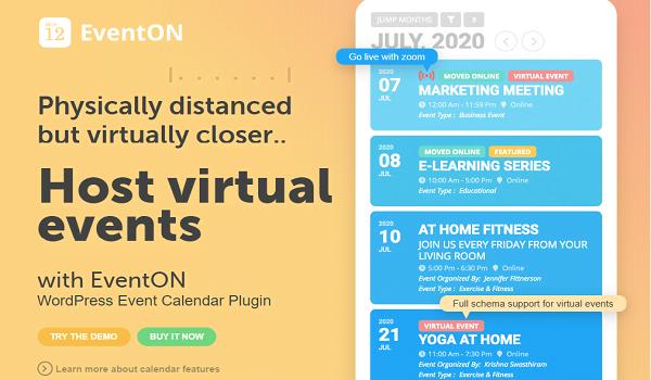 EventOn nằm trong Top Plugin tạo sự kiện tốt nhất cho WordPress với thiết kế vô cùng đẹp mắt.